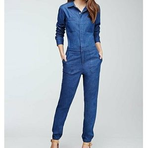 Forever 21 Collared Cotton Chambray Jumpsuit  - M